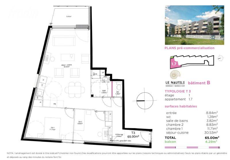 t3 neuf dans r sidence 39 le nautile 39 batb 1 7 par lokizi. Black Bedroom Furniture Sets. Home Design Ideas